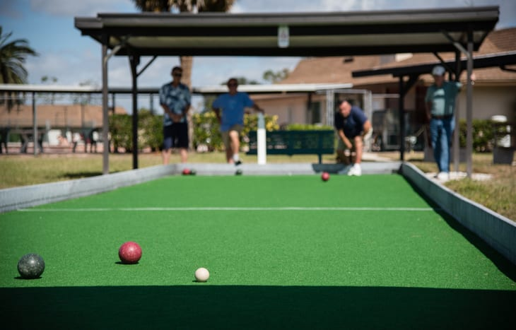 Bocce ball club overall in retirement villages