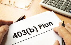 403(b) plan typed on paper