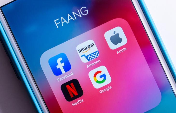 faang stocks list of logos on a phone