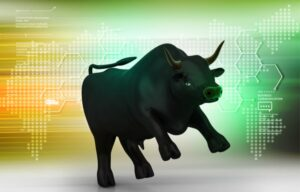 An animated bull against stock drops representing a stock market rally