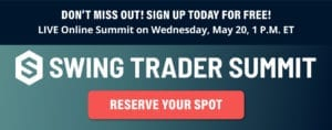 An advertisement for the Swing Trader Summit hosted by Nicholas Vardy
