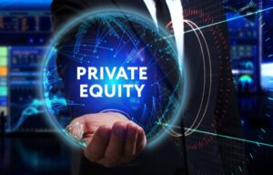 A man in a suit holding a globe that says private equity