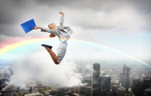 A business man flying through a rainbow because he knows how to achieve financial freedom