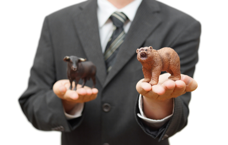 Man choosing between a bull and bear wondering if he should sell put options