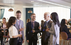 Networking at an investment seminar