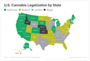 map of the U.S. states with cannabis legalization helps marijuana stocks