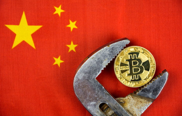 Image of a wrench clamping down on Bitcoin over the Chinese flag.