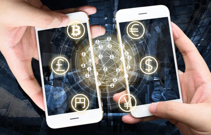 two smartphones finding the top fintech ETFs