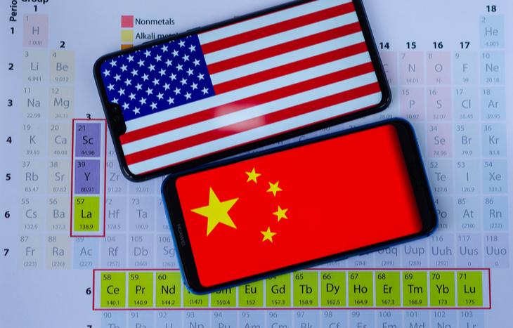 U.S. rare earth stocks and elements vs. China