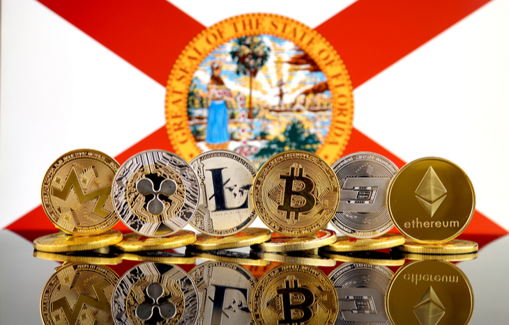 Cryptos not including Miami Coin in front of the Florida flag