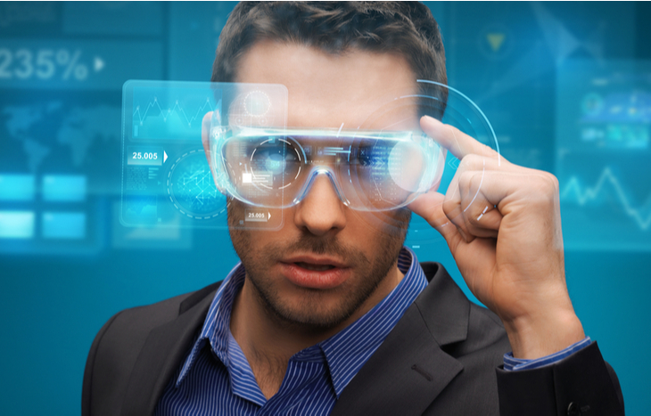 researching augmented reality stocks wearing AR glasses