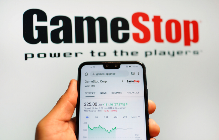 GameStop stock forecast on a phone